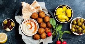 Greek Meatballs with Hummus and Pita Bread