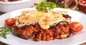Greek Moussaka with Beef, Eggplant, Cheese and Tomatoes
