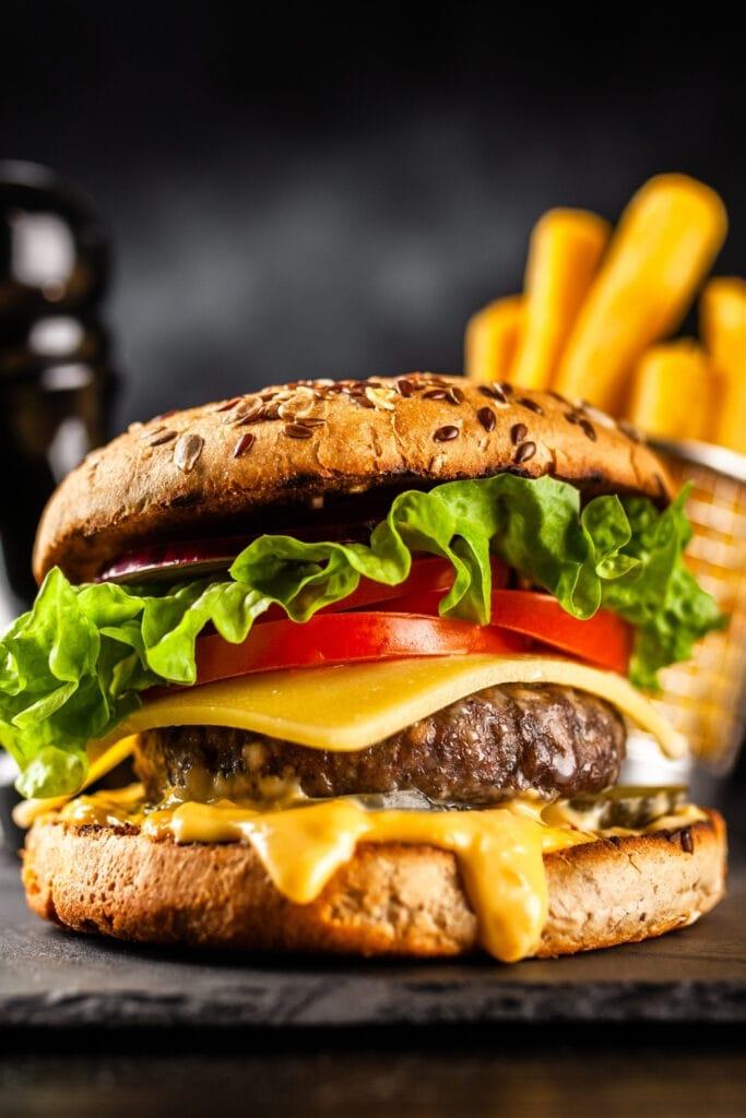 Homemade Big Mac Burger with Fries