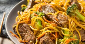 Homemade Chinese Lo Mein Noodles with Pork and Vegetables