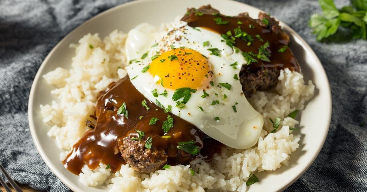 Homemade Loco Moco or Hawaiian Hamburger Rice