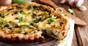 Homemade Quiche with Leek and Mushroom