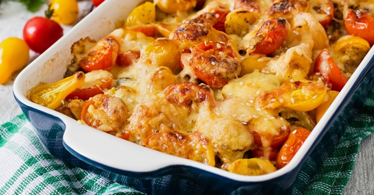 Homemade Vegetable Casserole with Cherry Tomatoes, Zucchini and Mushrooms