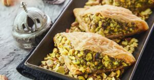 Lebanese Shaabiyat or Phyllo Dough Filled with Pistachios