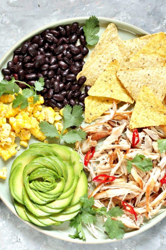 Mexican Buddha Bowl: Corn, Avocado, Black Beans, Nachos and Veggies