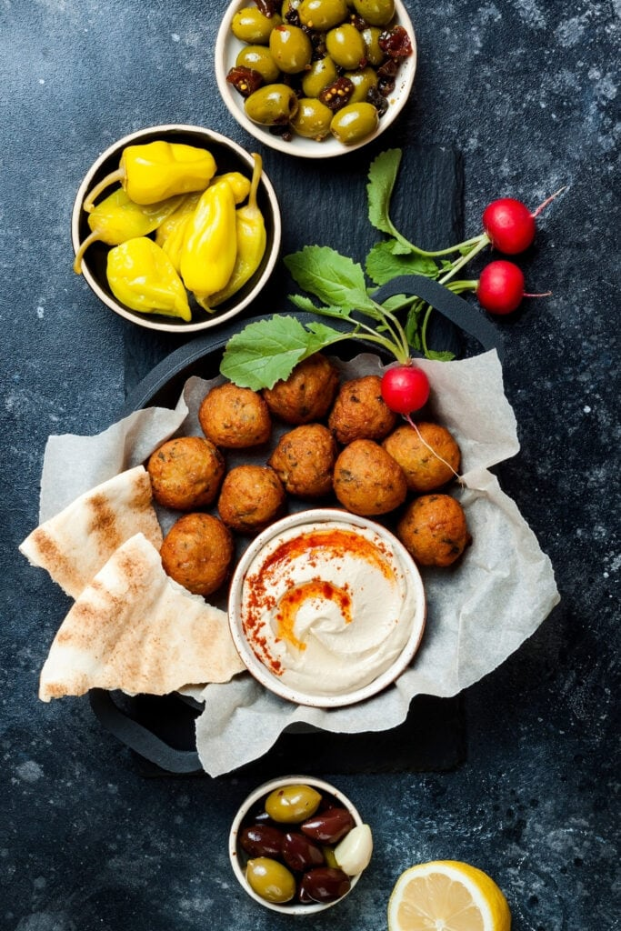 Meze Platter: Pita Bread, Greek Meatballs and Hummus