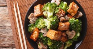 Mixed Vegetables Including Broccoli, Tofu and Mushrooms