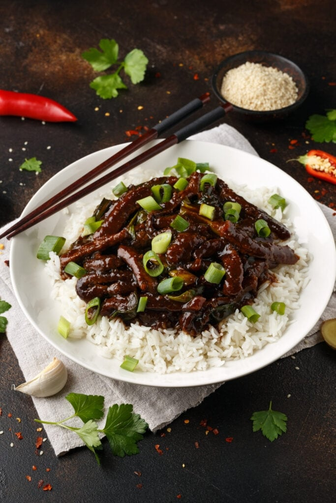 Mongolian Beef with Rice and Green Onions