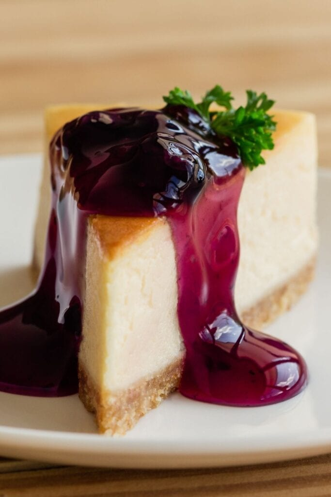 New York Cheesecake with Blueberry Sauce