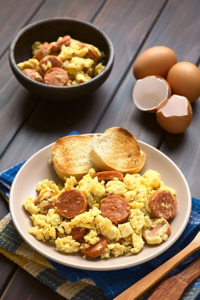 Polish Breakfast with Eggs and Sausage