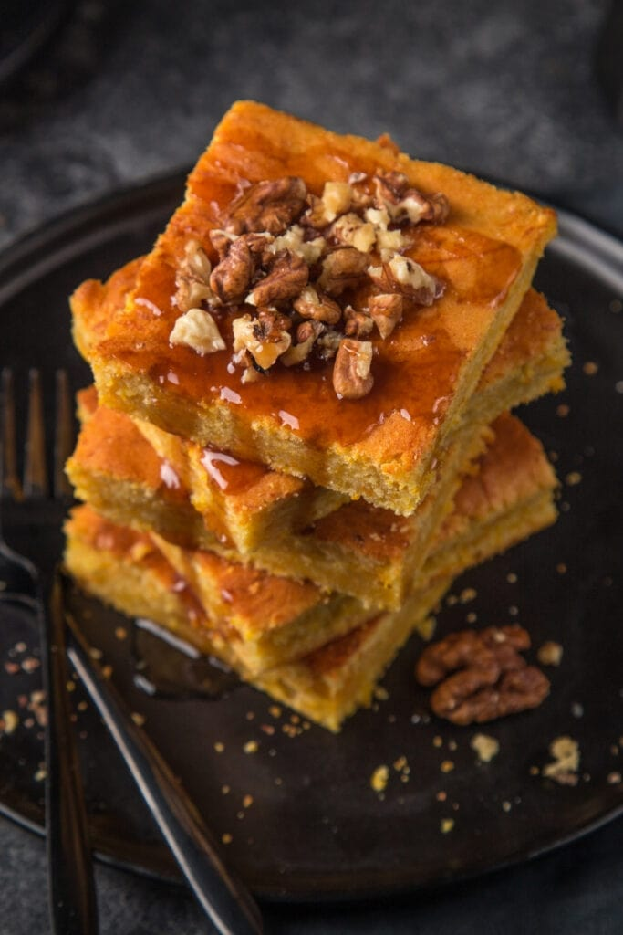 Pumpkin Pie Bars with Nuts and Caramel Sauce