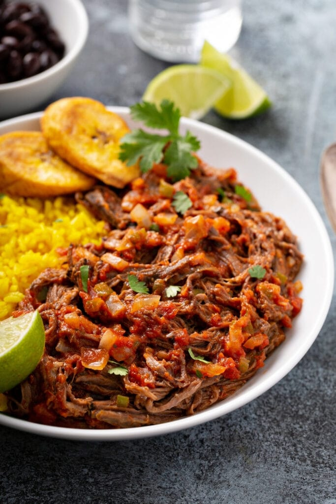Ropa Vieja: Flank Steak with Fried Plantains and Black Beans