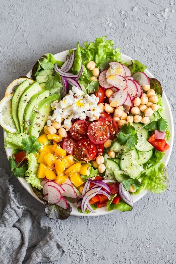 Spring Vegetable Salad with Chickpeas, Avocadoes and Feta Cheese