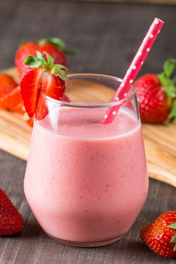 Strawberry Milkshake with Fresh Strawberries