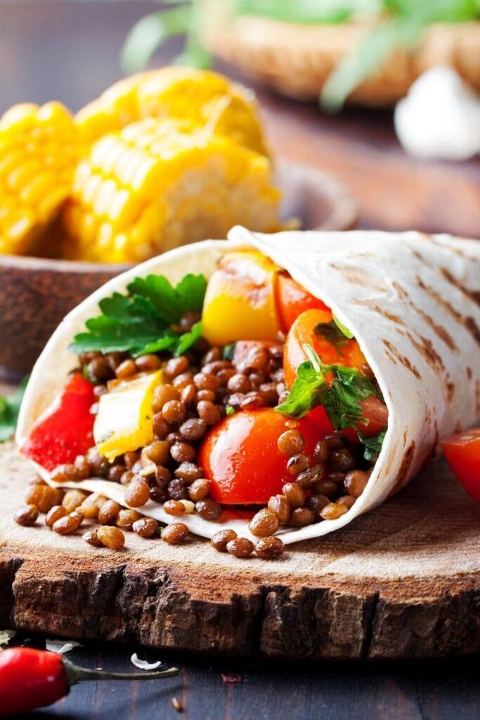 Vegan Tortilla Wraps with Lentils and Vegetables