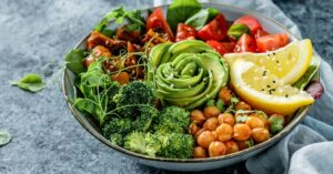 Vegetable Bowl with Avocadoes and Chickpeas