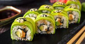 Vegetarian Avocado Sushi Rolls with Cream