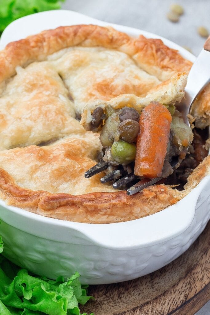 Vegetarian Pot Pie with Lentil, Mushrooms, Carrots and Chickpeas