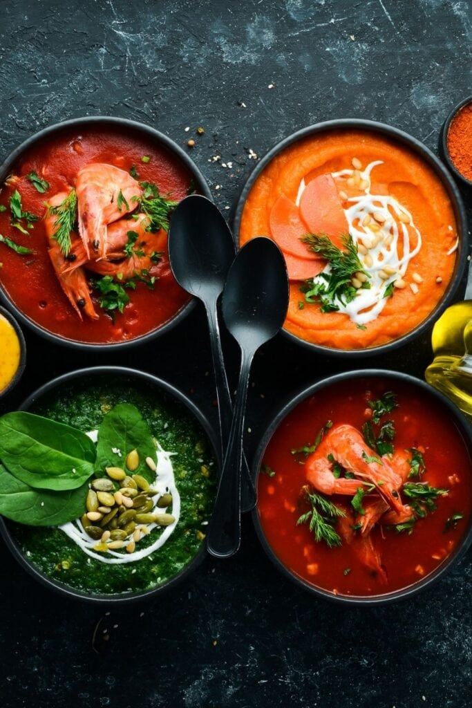 Vegetarian Soups: Spinach, Carrot and Tomato Soup