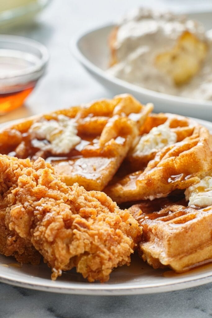 Waffle and Chicken with Maple Syrup