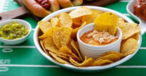 A Bowl of Chicken Buffalo Dip with Tortilla Chips