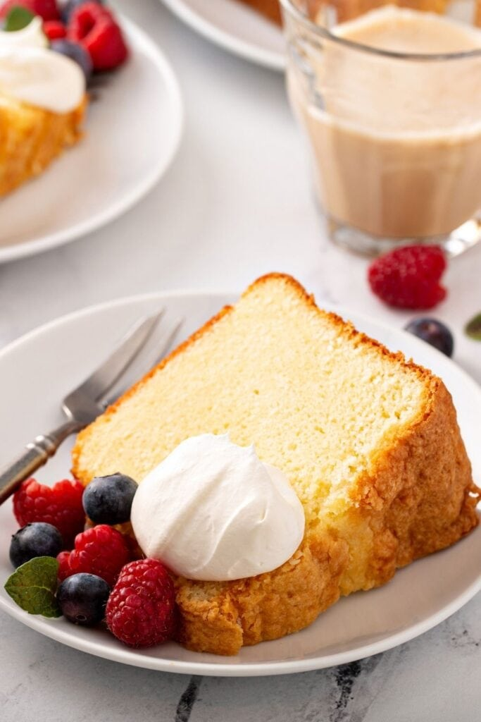 A Slice of Pound Cake with Berries