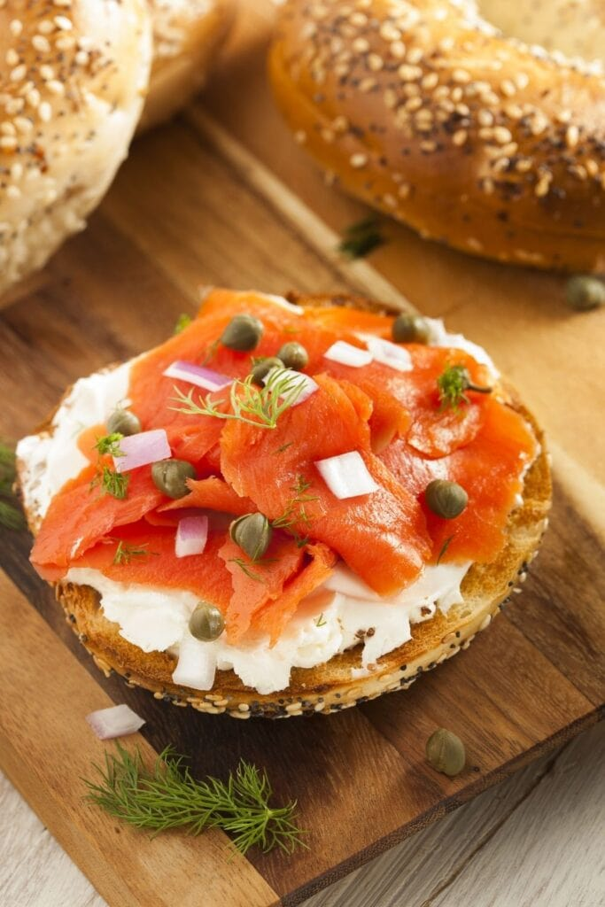 Bagels and Lox with Cream Cheese and Capes