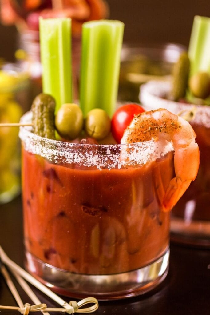 Bloody Mary Cocktail with Vegetables and Shrimp