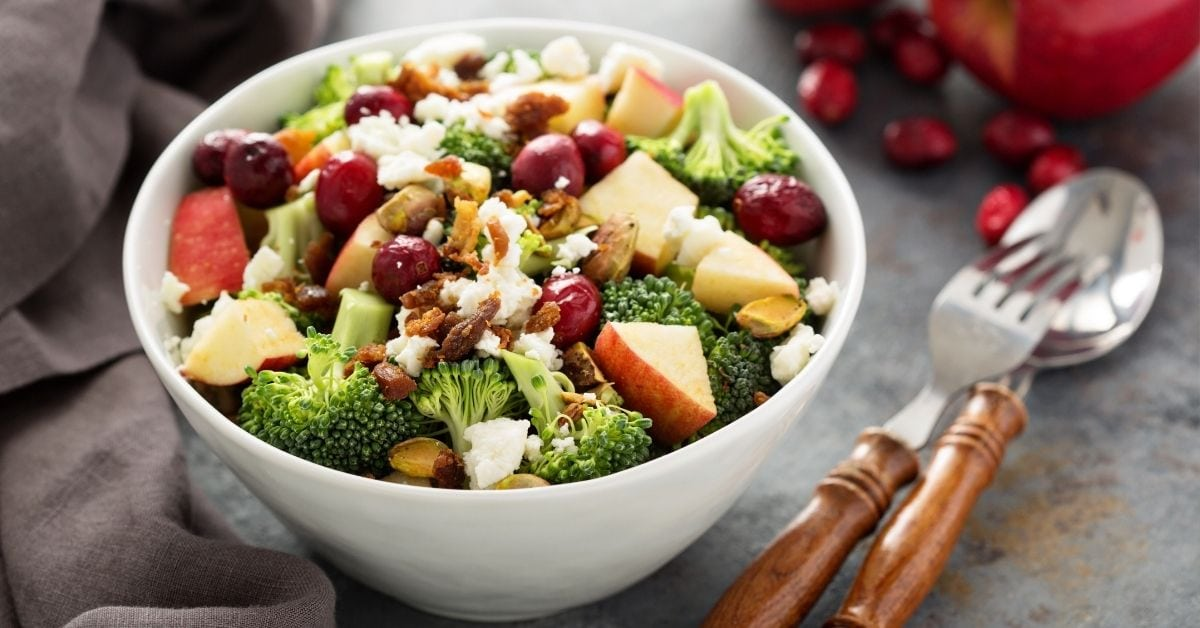 Bowl of Apple and Cranberry Salad with Bread Crumbs and Cheese