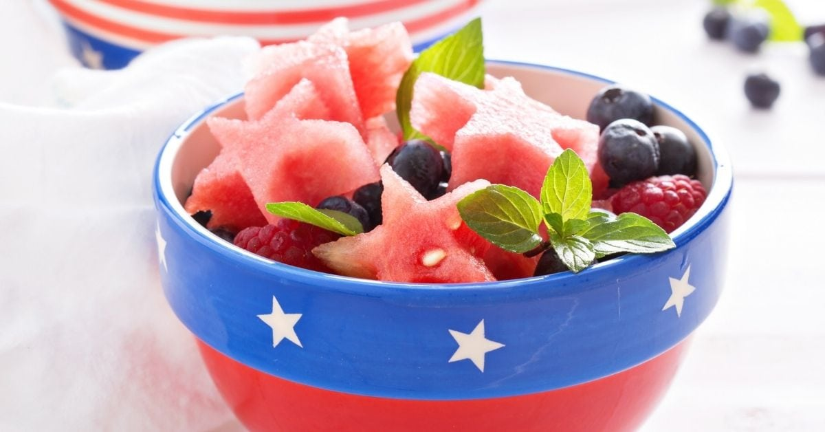 Bowl of Fruit Salad with Star Watermelon and Berries