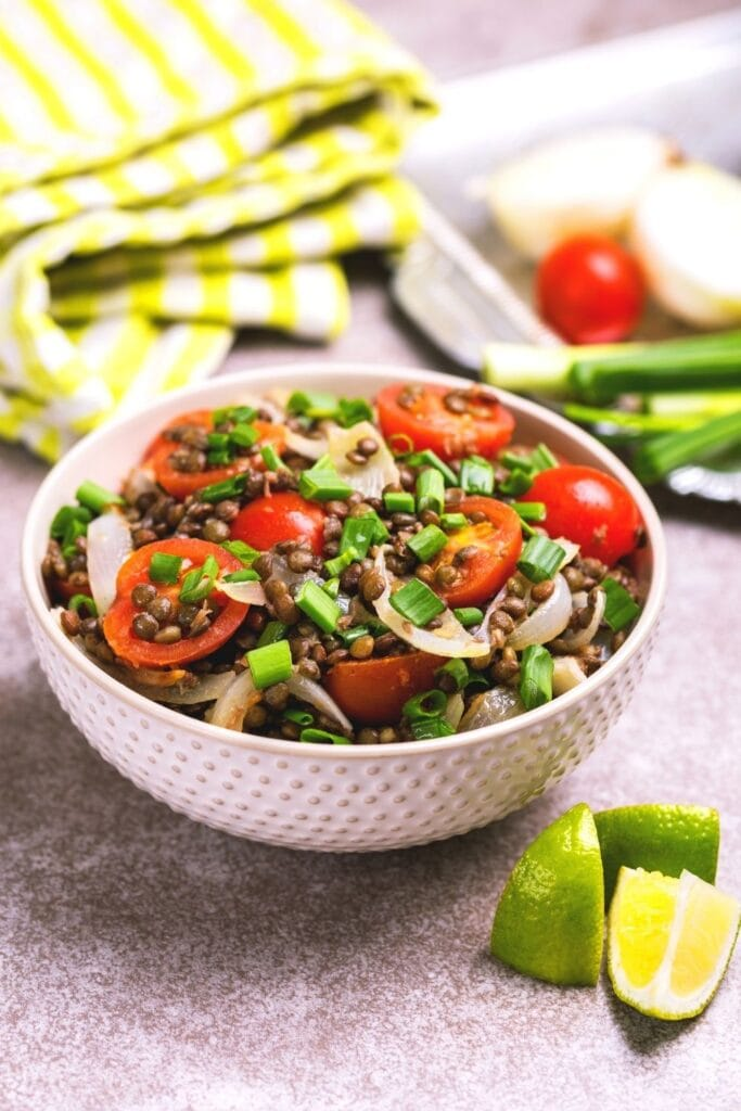 Bowl of Lentil Salad with Vegetables