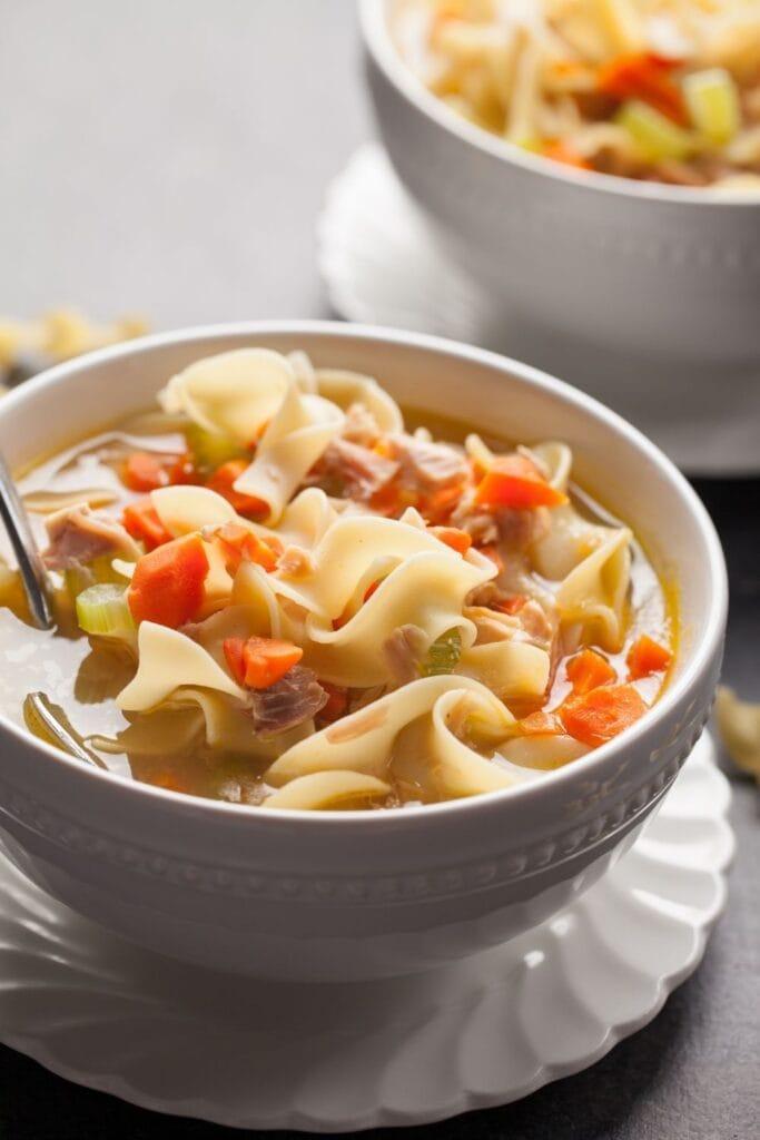 Bowl of Turkey Noodle Soup