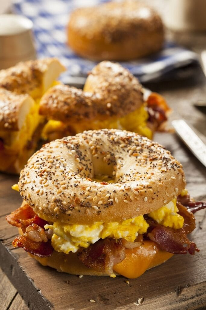 Breakfast Bagel Sandwich with Egg, Bacon and Cheese
