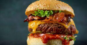 Cheesy Hamburger with Ketchup, Crispy Bacon and Lettuce