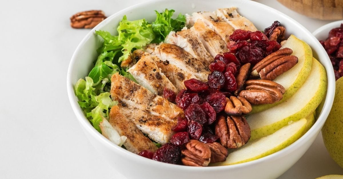 Chicken Bowl Salad with Pecan Nuts, Pears and Cranberries