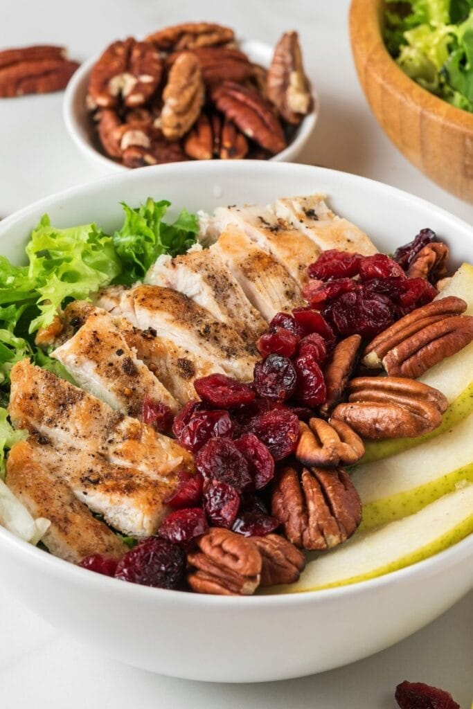 Chicken Salad with Dried Berries, Pecan Nuts and Pears