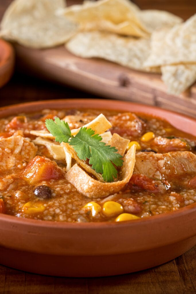 Chicken Tortilla Soup with Black Beans, Corns and Tomatoes