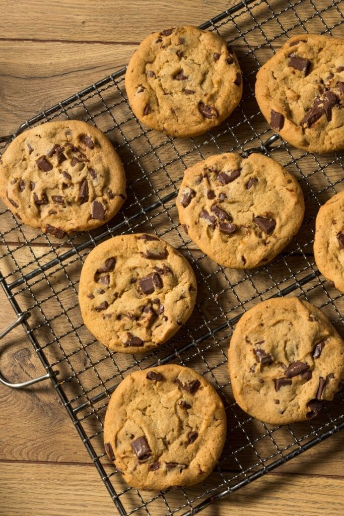 Chocolate Chip Cookies on a Cooling Rack