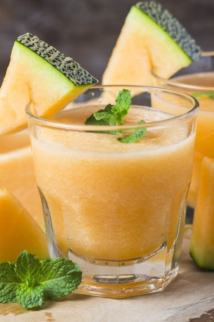 Cold Cantaloupe Juice in a Glass Jar
