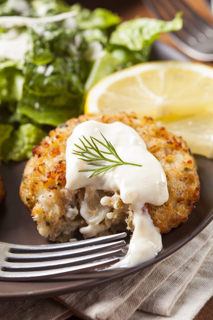 Crab Cakes with Lemons and Tartar Sauce