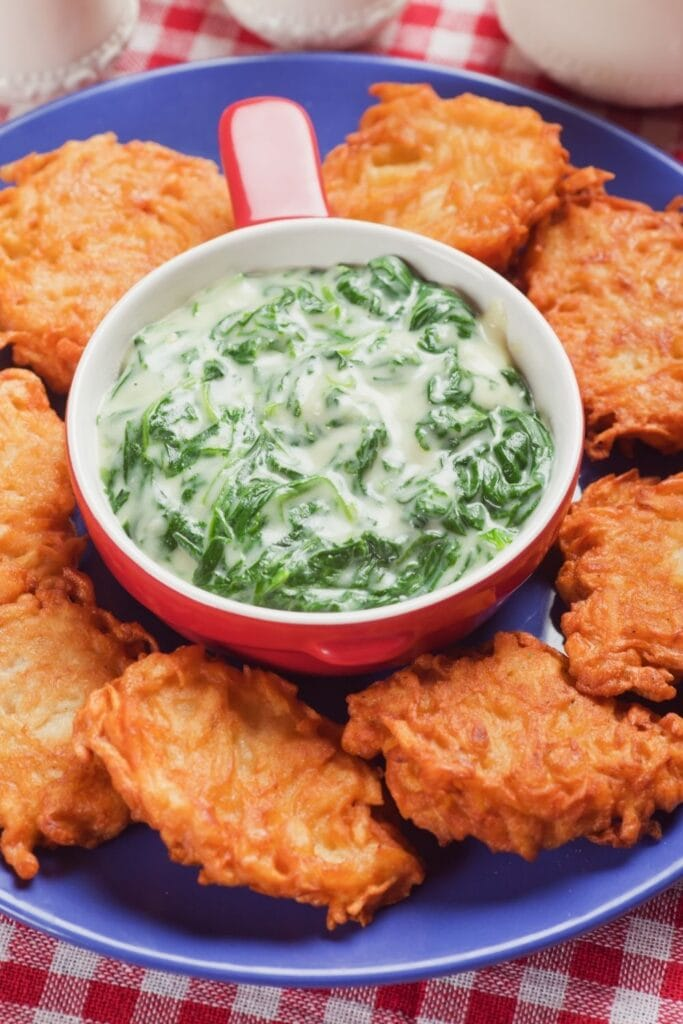 Creamy Spinach Soup with Potato Pancakes