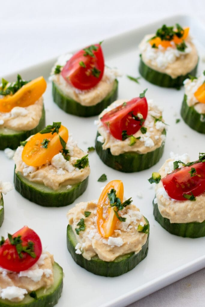 Cucumber and Tomato Bites with Hummus