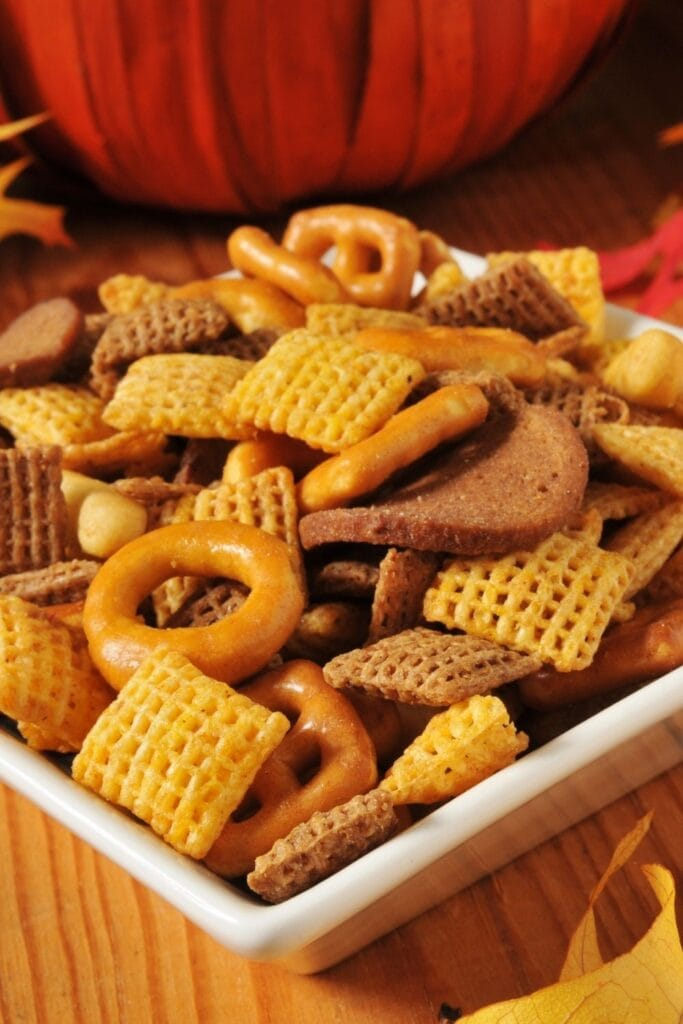Fall Snack Mix: Pretzels, Rice Cereals and Nuts