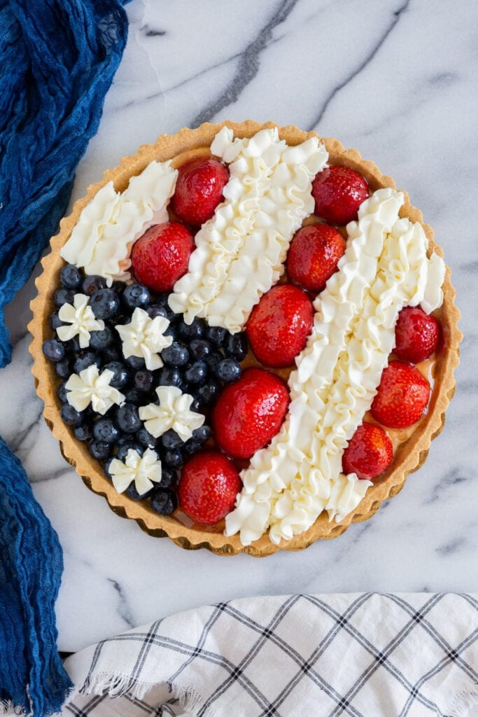 Fruit Tart Dessert with Berries and Whipped Cream