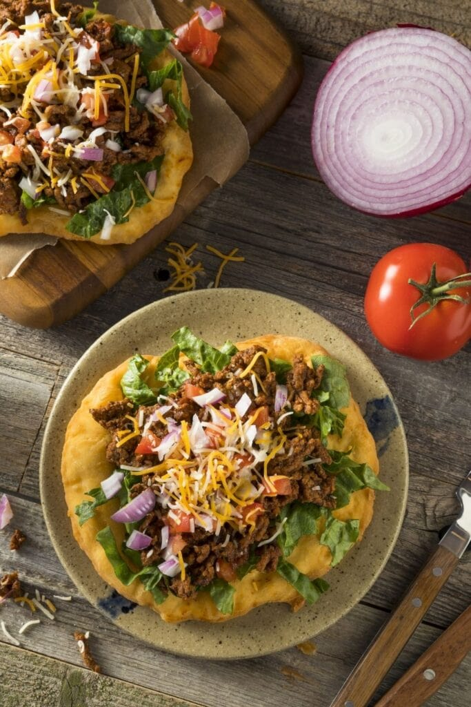 Fry Bread Tacos with Ground Beef and Vegetables