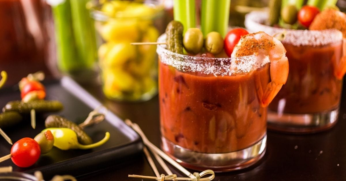 Glasses of Bloody Mary Cocktail