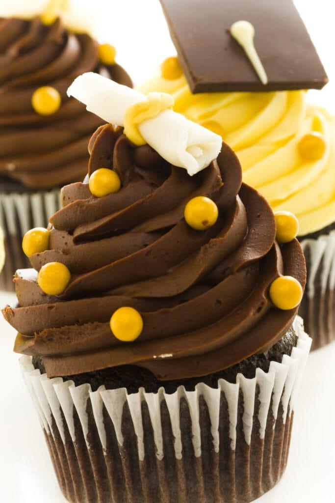 Graduation Chocolate Cupcakes