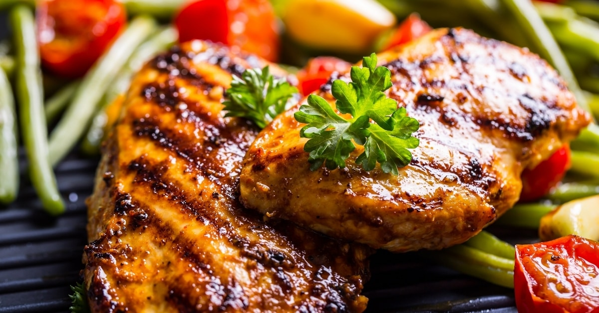 Grilled Chicken Breast with Cherry Tomatoes
