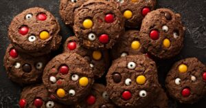 Halloween Monster Cookies with Chocolate Candies