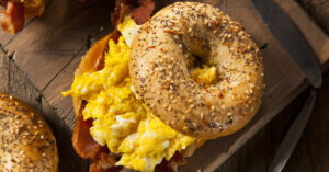 Homemade Bagel Breakfast Sandwich with Egg and Bacon